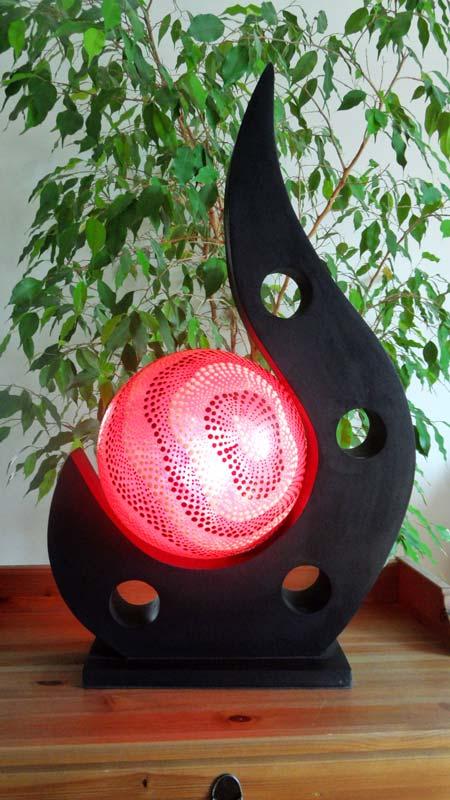 Lampe contemporaine 1 boule rouge for Lampe de table contemporaine