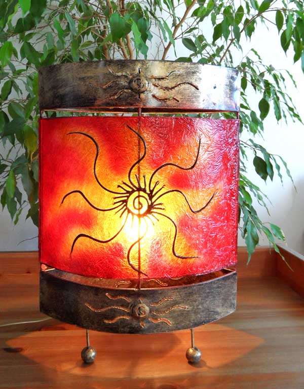 lampe orientale ovale soleil rouge 40 cm. Black Bedroom Furniture Sets. Home Design Ideas