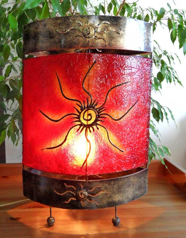 lampe orientale ovale soleil rouge 50 cm. Black Bedroom Furniture Sets. Home Design Ideas