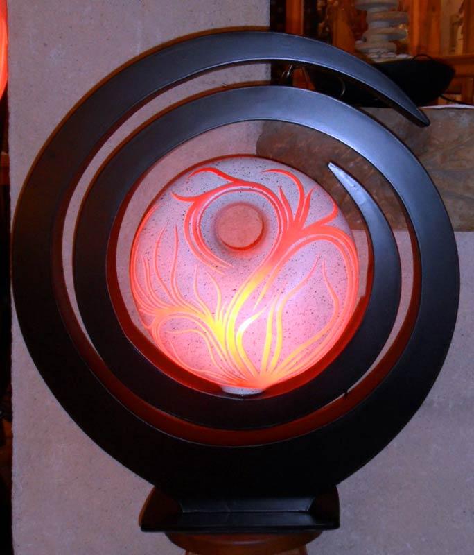 Lampe contemporaine « spirale » – rouge