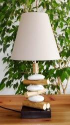 lampe galets rondins chapeau rond