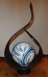 lampe namaste noire boule resine