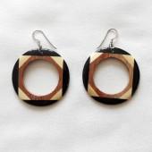 boucles oreilles bois et corne anneaux 1